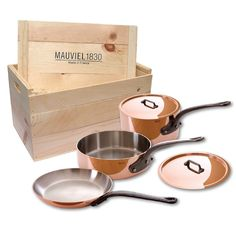 Mauviel M'heritage 6501.00wc 250c Crated 5-Piece Set with Cast Iron Handles -- You can get more details by clicking on the image.