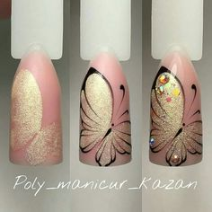 23 Butterfly nail art - nails - Lilly is Love Butterfly Nail Designs, Butterfly Nail Art, Nail Art Designs, Nails Design, Diy Nails, Cute Nails, Pretty Nails, Manicure Steps, Nail Nail