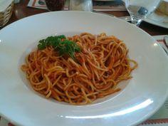 Spaghetti marinara from Amarone Restaurant & Bar in Sandusky, Ohio.