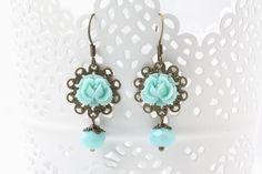 Mint blue earrings, mint bridesmaid earrings, mint wedding earrings, bridesmaid gift, rustic wedding jewelry,  vintage inspired earrings by CharmanteBijoux on Etsy