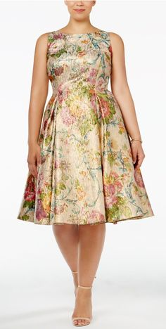 Plus Size Brushed Metallic Floral Fit & Flare Dress