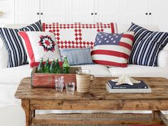 Red, white and blue with a nautical beachy vibe.