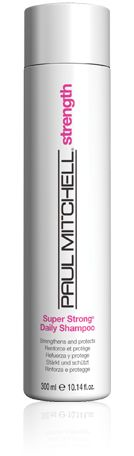 Paul Mitchell Super Strong Daily Shampoo  Gently cleanses and repairs   damaged strands.  Benefits: Improves the look and feel of hair.  Bonus: Helps prevent further damage.  Details:  Super Strong® Complex rebuilds hair from within.  Mild, color-safe surfactants cleanse and protect.  Conditioning agents improve texture and add shine.    *Paul Mitchell products are animal testing free