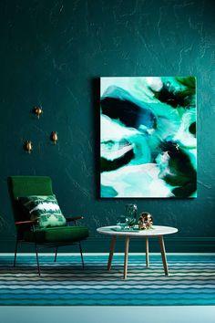 Szmaragd, turkus i malachit, fot. Interior Exterior, Interior Design, Design Interiors, Les Accents, Australian Artists, Henri Matisse, Elle Decor, Resin Art, African Art