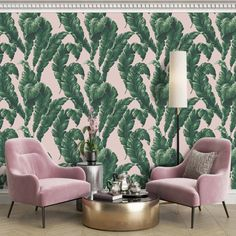 WM-365-05 What's the story? Launched on a Friday after a particularly tough week during COVID-19 lockdown while running the business from home with two feral children :)  It's Friday let's go bananas!!! hence the name keep smiling. A bold, larger than life design, this Banana Palm green wallpaper features beautiful lus