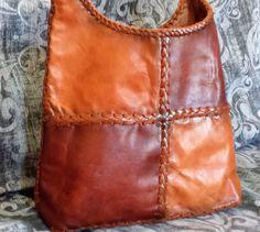 Vintage 80's Leather Tote shoulder bag, Vintage Patchwork Leather Tote, 1980's Tote Shoulder bag, Boho Hippy Chic Leather Bag by VintageAndCurrent on Etsy