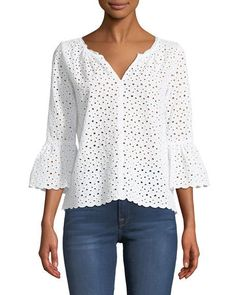 Saidee Eyelet Bell-Sleeve Blouse by Velvet at Neiman Marcus Bell Sleeve Blouse, Blouse Dress, Bell Sleeves, Shirting Fabric, Fall Fashion Outfits, Blouse Online, Lace Tops, Clothes For Women, Neiman Marcus