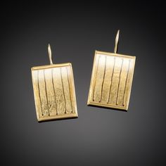 22k yellow gold, rectangular watch crystal earrings