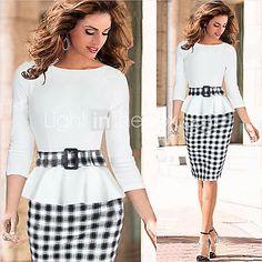 moda verificação ocasional vestido splicing de monta mulheres - BRL R$581.06