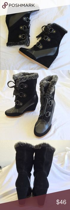 """NEW Envy Ashton Wedge Boots NEW Envy Ashton Wedge Boots. Approx. 3 1/2"""" wedge. Suede/ leather upper, manmade sole. Soft faux fur trim. Will be shipping boots with dust bag. Comes from pet & smoke free home. ENVY Shoes Ankle Boots & Booties"""