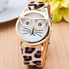 Cat ladies! Get this adorable watch in seven fun bands (including leopard!).