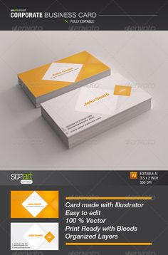 Corporate Business Card — Vector EPS #page #standard • Available here → https://graphicriver.net/item/corporate-business-card/3958699?ref=pxcr