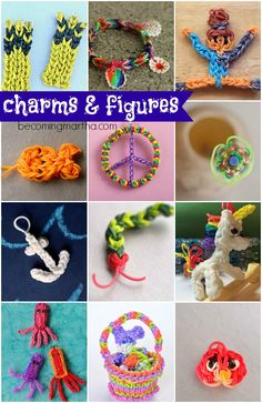Charms and Figures Rainbow Loom patterns - Machines et élastiques : http://www.creactivites.com/268-elastiques-loom