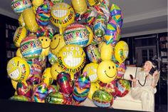 a whole lot of yellow balloons