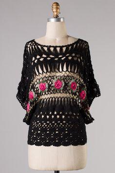 Crochet Magnolia Top in Black