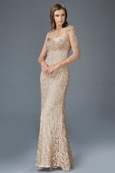 Stunningly elegant evening gown with long beaded sheer illusion sleeves.  The bust is beaded shimmery ruched satin and the rest of the dress is  luxurious ... c9e77683cd5b