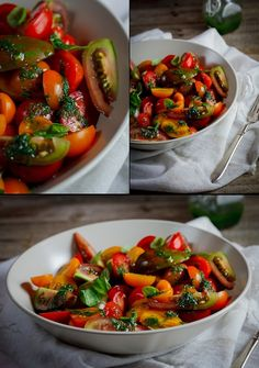 Tomato Salad with Basil Dressing  Certainly, you'll really like this tomato salad. This is a recipe that I learned it when I was young from my grandmother. It is a summer recipe, low calorie and very nutritious.