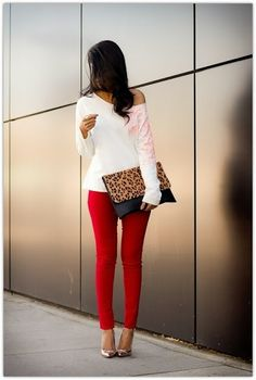 Art Symphony: Red Pant Addiction. I need some colored pants...shopping spree soon!
