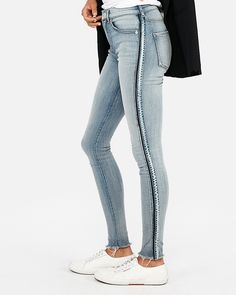 f031c4581c67b High Waisted Side Stripe Denim Perfect Jean Leggings. Express · Express  Jeans