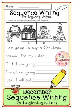 December Sequence Writing contains 30 pages of narrative prompts worksheets. This product is suitable for kindergarten and first grade students. Kindergarten | Kindergarten Worksheets | First Grade | First Grade Worksheets | Winter Sequence Writing Prompts | Sequence Writing Prompts | Writing Prompts Worksheets | Writing Prompts Literacy Centers | Writing Prompts Printables