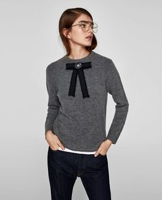 Image 2 of BOW APPLIQUÉ SWEATER from Zara