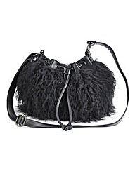 Faux Mongolian Fur Shoulder Bag