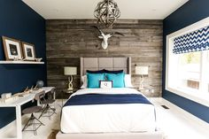 Barnboard and navy blue