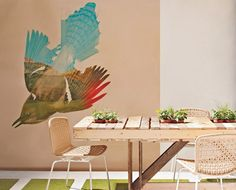 Awesome bird painting- take an old landscape painting, put on stenciled image and paint the rest.  Remove stencil.