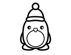Dibujo de Pingüino navideño para colorear
