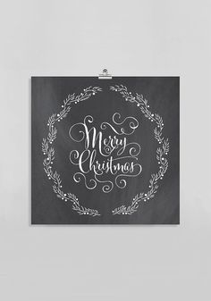 Holiday Download: Chalkboard Christmas Gift // Merry Christmas Sign // Black & White Calligraphy Writing // Fancy Holiday Decor Gift for Her...