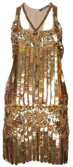 Roberto Cavalli Sequin Dress in Gold