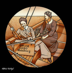 Detail from 'Molly Childers and Mary Spring-Rice aboard the Asgard', by Robert Ballagh. Contemporary History, Irish Culture, Irish Art, Prints For Sale, Ireland, Stitching, Sculptures, Rice, Mary