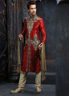 Red gold dupion designer mens sherwani