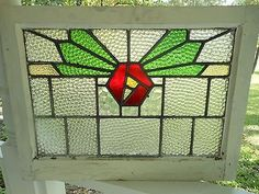 JF151 Lovely Older Multi-Color English Leaded Stained Glass Window 2 Available