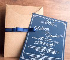 convites reais, festas de sucesso: CASAMENTO    parabéns ao casal Helena e André que escolheram um modelo rústico/retrô, combinação perfeita!!!  (festa dia 17 de setembro de 2016 - Pelotas-RS)  #casamento #festas #inkgraffestas #convites #perfeitos