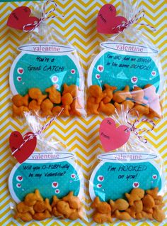 Items similar to Valentine FISH BOWL Cards filled with Goldfish Crackers on Etsy. - Items similar to Valentine FISH BOWL Cards filled with Goldfish Crackers on Etsy – – - Valentine Gifts For Kids, Homemade Valentines, Valentines Day Treats, Valentine Day Crafts, Valentine Box, Valentine Cards For School, Preschool Valentine Ideas, Diy Valentines Cards, Printable Valentine