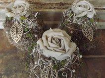 Tischgestecke,3er Set,Kugeln mit Rose,sand-grau