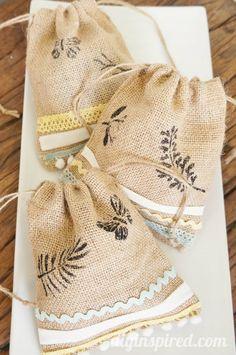 Easy Stenciled Burlap Bags | Burlap Bags, Burlap and Bags