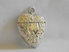 antique match safe sterling silver heart shape repousse acanthus & floral motif
