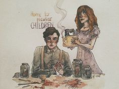 Miss Peregrine's home for peculiar children. Olive Abroholos and Enoch O'Connor.