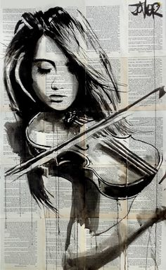 notes, a Ink on Paper by LOUI JOVER from Australia. It portrays: Women, relevant to: jover, violin, loui jover, contemporary, ink, book pages, music, new ink on removed vintage book pages adhered together to make one sheet ready for framing a desired