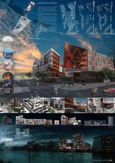 diagramação de pranchas Concept Board Architecture, Architecture Design, Architecture Presentation Board, Architecture Panel, Architecture Graphics, Presentation Boards, Planer Layout, Interior Design Presentation, 400m