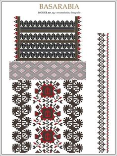 traditional Romanian pattern - north of Bessarabia Folk Embroidery, Embroidery Patterns, Cross Stitch Patterns, Romanian Lace, Palestinian Embroidery, Baby Tattoos, Moldova, Hama Beads, Beading Patterns