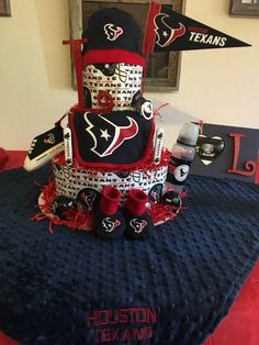 Texans diaper cake Baby Shower Themes, Baby Boy Shower, Shower Ideas, Baby Shower Gifts, Nfl Texans, Texas Texans, Baby Doll Clothes, Baby Dolls, Texans Baby Shower