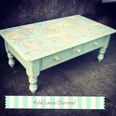 Upcycled table , with map  by Kyle Lane Clonmel