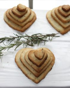 Stackable Rosemary Heart Butter Cookies