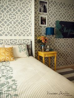 Cutting Edge Stencils shares a DIY stenciled accent wall using the ...