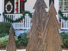 The holiday experts at HGTV.com share step-by-step instructions for creating rustic plywood Christmas trees for your front yard.