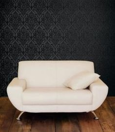 Love the black on black damask. Thinking of doing an accent wall in my bedroom with this.