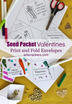 Seed Packet Valentines Print and Fold Envelopes. Click on the picture to view the tutorial and grab the printables.